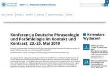 Konferencja Deutsche Phraseologie und Parömiologie im Kontakt und Kontrast, 23.-25. Mai 2019